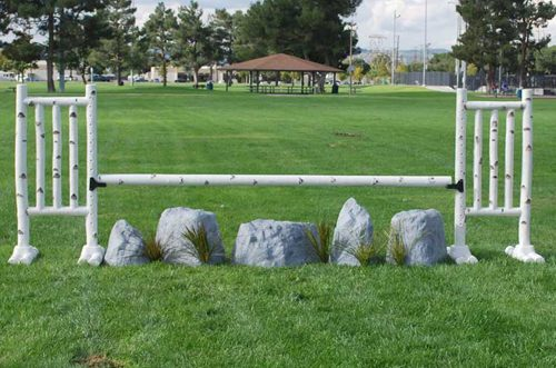 5 foot birch jump standards and rock set