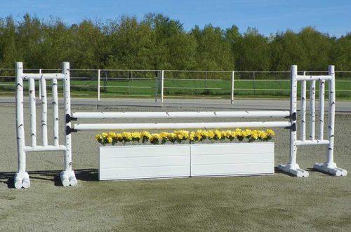 5 foot birch jump standards and slat wood wall
