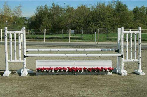 5 foot birch jump standards with flower box and flower strip