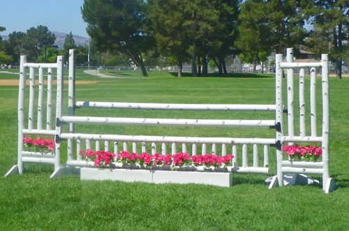5 foot birch jump standards with gate and flower box