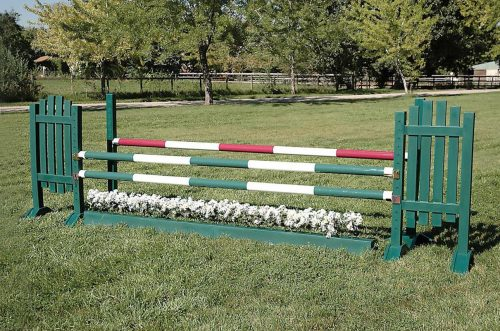 burlingham sports 5ft solid color jump standards brown picket wing oxer complete jump asa16