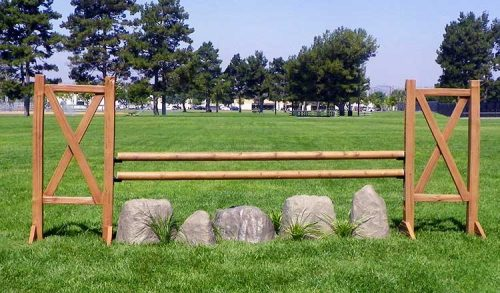 Cedar Split Rail Jump Standards with rock set