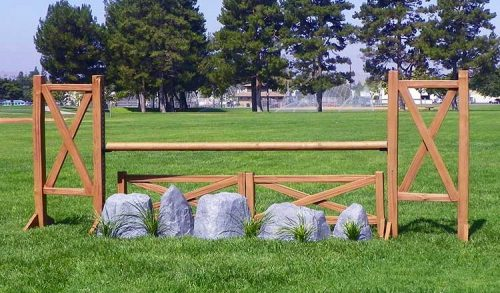 Cedar Split Rail Jump Standards with fence and rocks