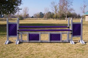 square panel 5ft two tone jump standards pair in purple