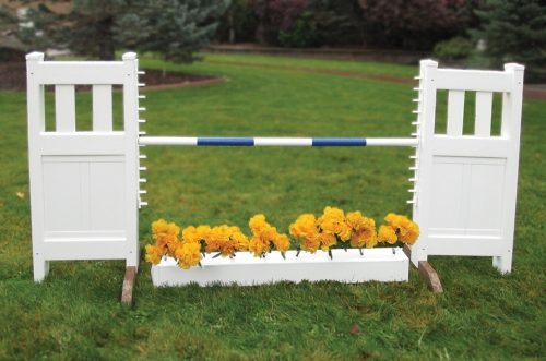 solid picket top jump set with flower box and blue soft pole