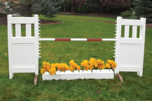 solid picket top jump set with flower box and red soft pole