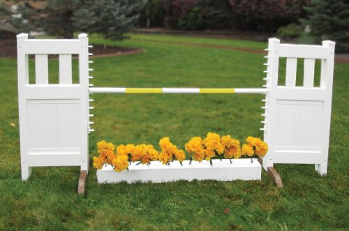 solid picket top jump set with flower box and yellow soft pole