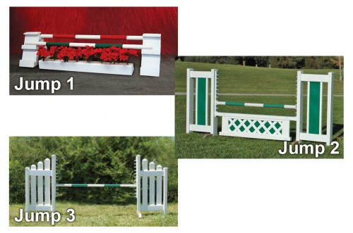 holiday kid jumps course holiday jump, color panel jump, and slant picket jump sets