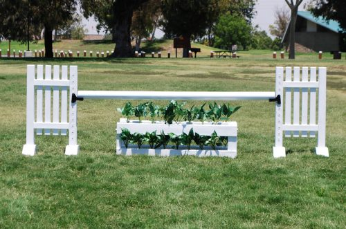 mini pony jump standards complete white complete jump with flower box and foliage