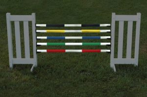 kid soft jump poles in black, yellow, blue, green, and red