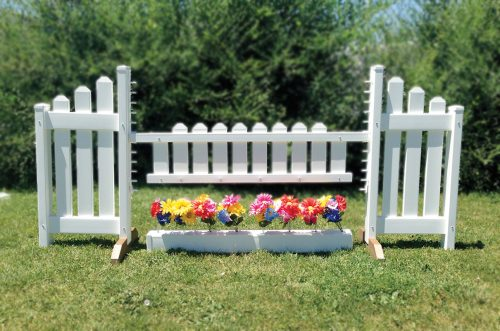 picket gate jump with flower box