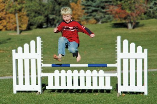 slant picket jump set and child jumping