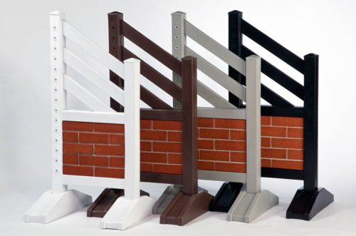 Red Brick Jump Standards with White Brown Grey and Black colors