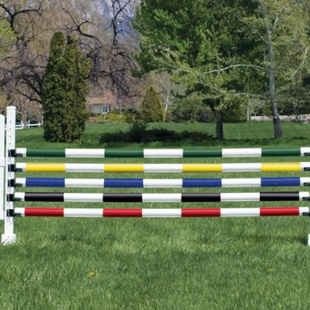 Slope picket with striped poles jump PPA14 9-425 PolyPro Slope Picket jump standards 14-020 Ultimate striped jump poles 899HJC Jump Cups