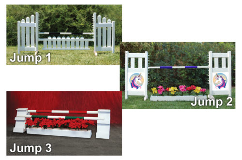 graphic panel jump package slant picket, solid picket top, and holiday kid jumps