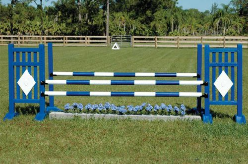 blue flowers and blue picket standards and blue and white striped poles