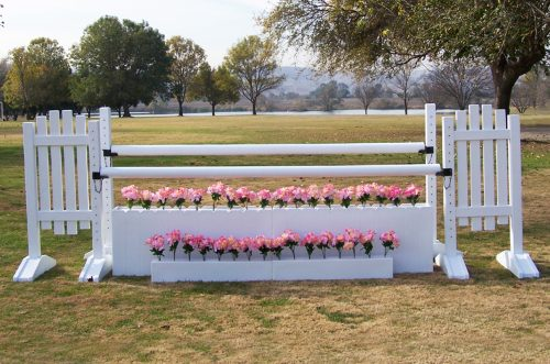 pink flowers with flower boxes and complete jump