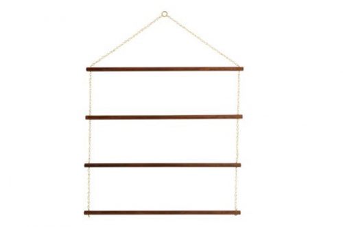 brass and wood rack 4 tier wide