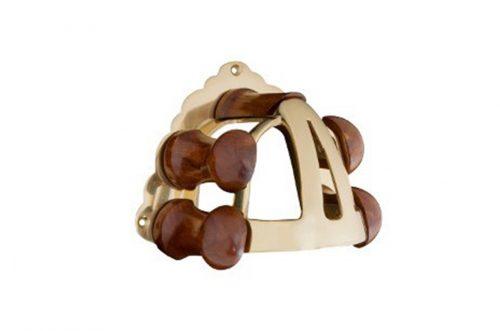 brass and wood bridle bracket rack