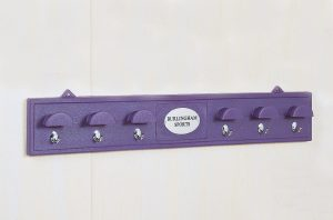 bridle rack with brass hooks in purple