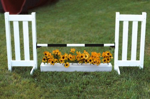 double picket kid jump with flower box