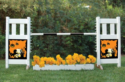 solid picket top jump set with flower box and halloween graphic panels