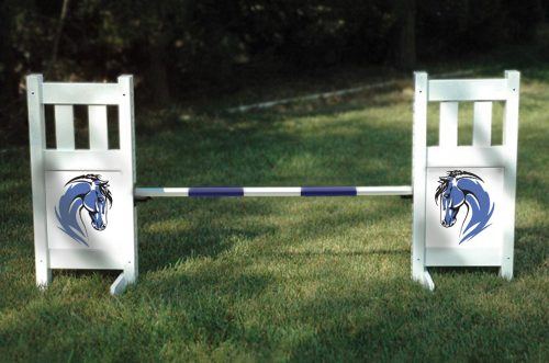 solid picket top jump set with blue horse graphic panels