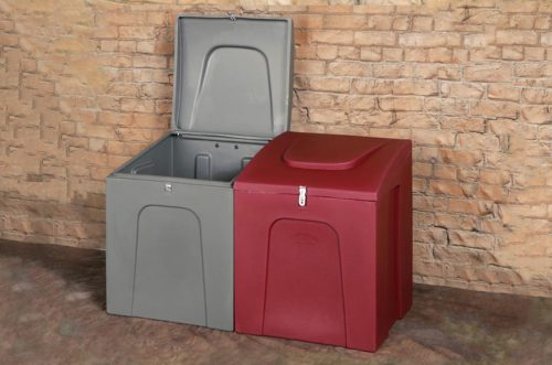 storage bin red and grey