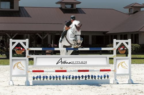 training flower boxes with arena supplies graphic panels and gate. horse jumping over complete jump
