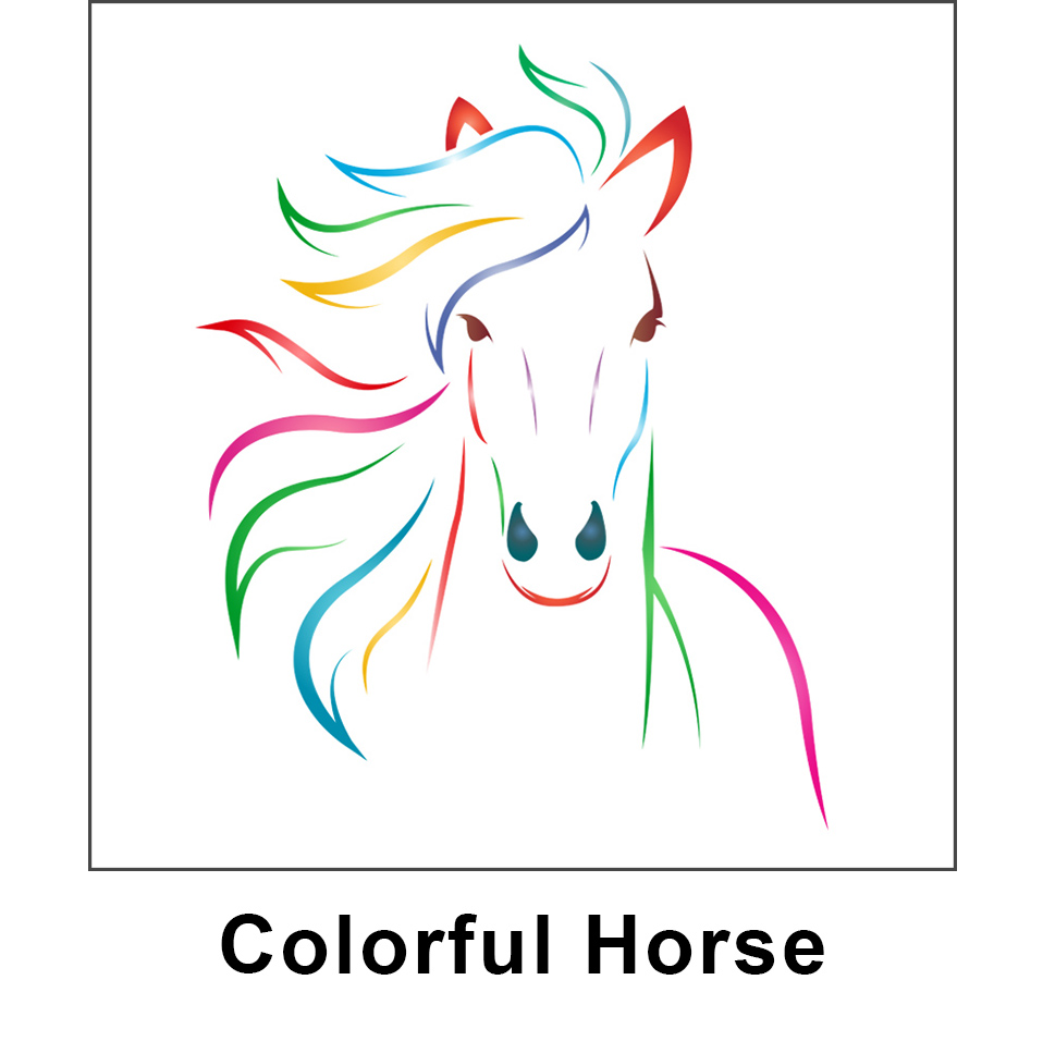 colorful horse kid jump graphic panel