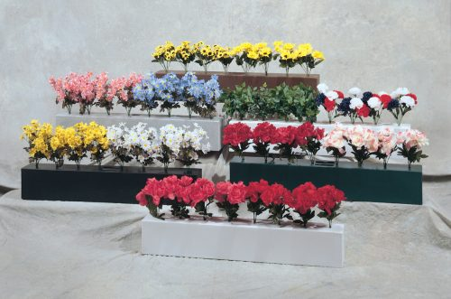 training flower boxes in brown, light grey, white, black, and green