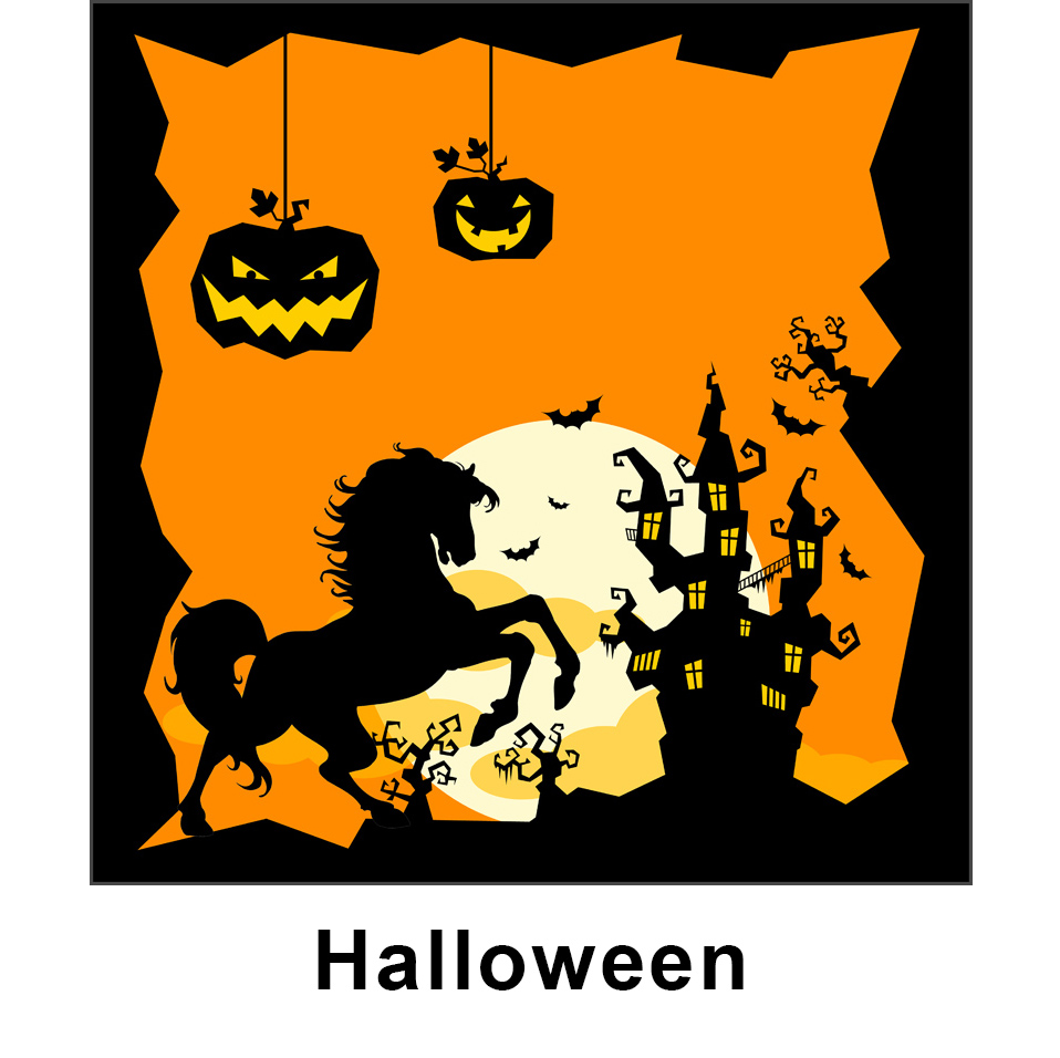 Halloween kid jump graphic panel