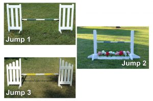 kids basic schooling jump course double picket, schooling jump, and slant picket jump