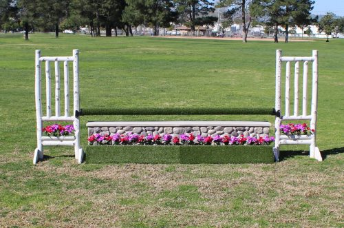 arena supplies turf flower box with birch standards and turf pole complete jump