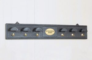 Bridle Rack with Brass Hooks