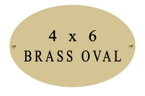 oval name plate 4 x 6 brass