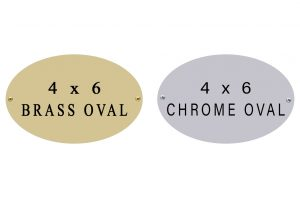 oval name plate 4 x 6 brass and chrome