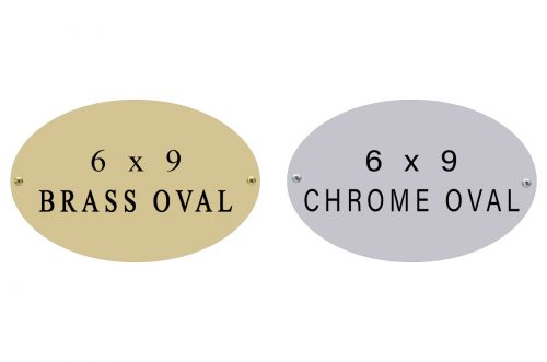 oval name plate 6 x 9 brass and chrome