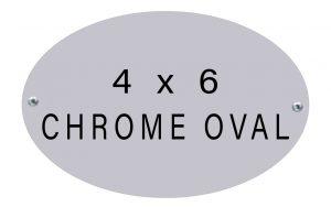 oval name plate 4 x 6 chrome