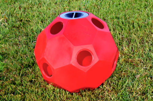 hay ball feeder in red