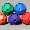 hay ball feeder 2 inch holes green, blue, orange, purple, and red