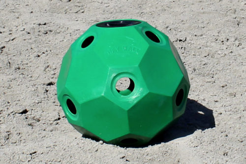 hay ball feeder 2 inch holes green