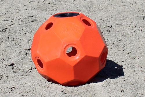 hay ball feeder 2 inch holes orange