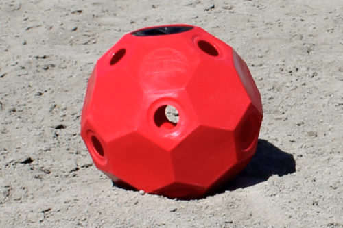 hay ball feeder 2 inch holes red